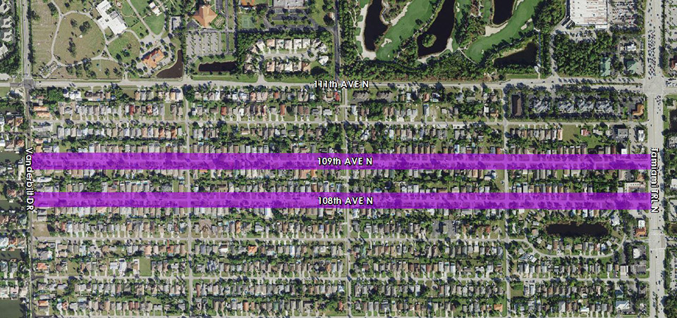 108th and 109th Avenue North Public Utility Renewal Project map