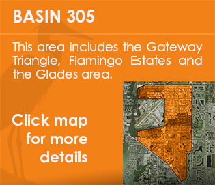 Basin 305 - This area includes the Gateway Triangle, Flamingo Estates, Naples Industrial Park, River Reach and the Glades area.